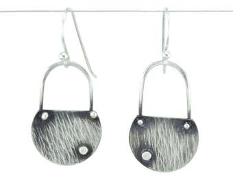 Lightweight and stylish textured silver earrings with rich texture - Ripple Earrings