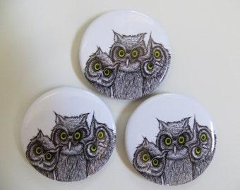 "3 OWLS pen and ink Magnetic Art Fridge Magnet Set of 3 Round 1.5"""
