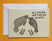 Manatees Don't Lie Embroidery Greeting Card