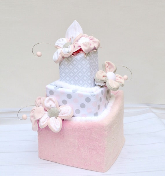 Pink and Gray Baby Gift, Gray and Pink Baby Shower, Custom Baby Gift, Square Diaper Cake, Baby Shower Gift, Girl Diaper Cake, Baby Gifts