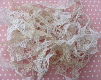 Shades of White & Creme .... Sweet Lot of Vintage Tiny Cotton Lace