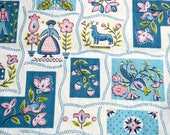 Vintage Fabric - Tole Print in Pink and Turquoise - One Yard