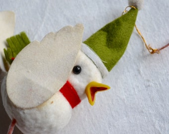 Vintage Bird Ornament - Felted with Wire Feet and Santa Hat