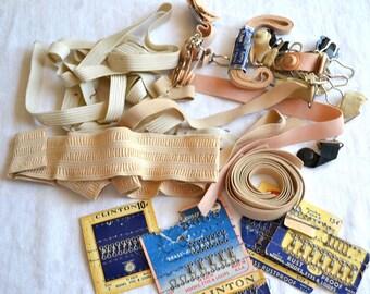 Vintage Lingerie Girdle Garter Tabs, Elastics, Bra Hooks Lot