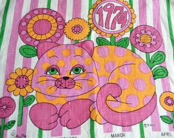 Vintage Kitchen Dish Towel - 1974 Mod Cat Calendar Tea Towel