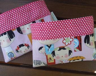 Reusable snack bag - Eco friendly snack bag - Reuse snack bag - Kokeshi dolls