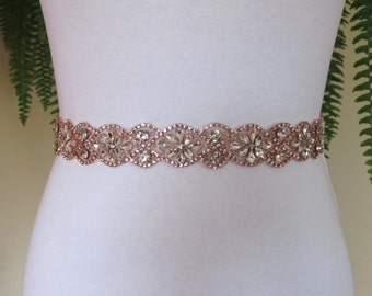 Rose Gold Crystal Rhinestone Bridal Sash,Wedding sash,Bridal Accessories,Bridal Belt and sashes,Ribbon Sash,Style #53
