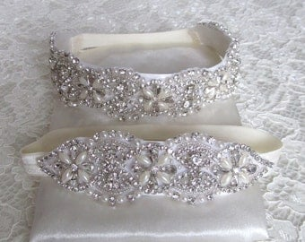 Pearl Crystal Rhinestone Bridal Garter Set,Wedding Garter,Bridal Accessories,Style #GSET3