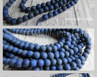 4mm matte lapis bead strand, lapis beads, lapis lazuli, lapis, blue beads, bead strands, gemstone beads, gemstone bead strands