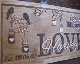Personalized Couples wedding gift Mason Jar custom family Name Sign Carved Wood Sign 3D Last Name established signs Mr.and Mrs. lantern jar