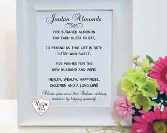 Jordon Almonds, Jordan Almond Favor Sign, Jordan Almond Poem, Jordan Almond Favor, Five Wishes Poem, Italian Wedding, Pick A Size, No Frame