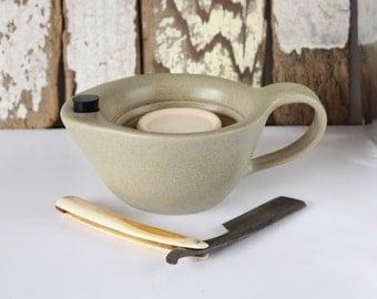 Shaving Scuttle / Shaving Mug / Off White Scuttle / Ridges for Good Lather / Warm Lather