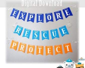 Black Friday Cyber Monday Octonauts Themed Banner for Birthday Parties Explore Rescue Protect Barnacles Peso Kwazii Printable Wall Sign DIY