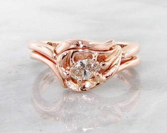 Diamond Rose Gold Leaf Wedding Set, Bridal Set Pink Gold