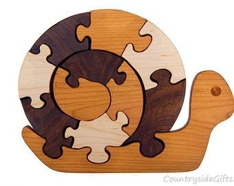 Wooden Puzzle, Wood Snail Puzzle, Wooden Snail Puzzle