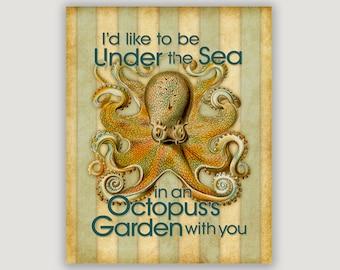 Beach wall art, Octopus's Garden, beach decor, Octopus art, beach print, beach art, nautical art, music lyric, beach house decor, sea art