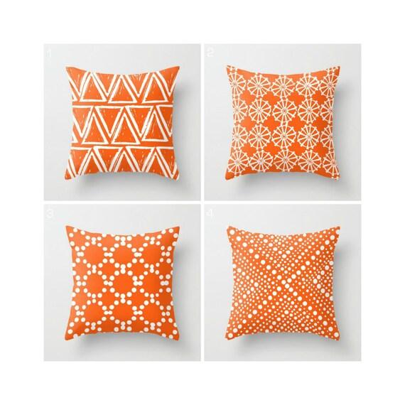 Orange Throw Pillow - Modern Throw Pillow - Geometric Throw Pillow - Orange Cushion - White Triangle  - Throw Pillow 16 18 20 24 inch
