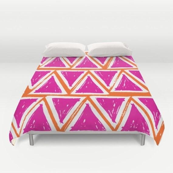 Modern Triangle Duvet Cover - Orange duvet cover - Magenta duvet cover - Twin XL duvet - queen duvet cover - king duvet cover - full duvet