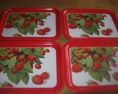 Set of 4 Strawberry Decorated Metal Trays