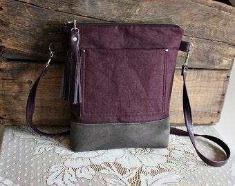 Linen crossbody purse/ handbag/bag vegan leather trim - Ready to ship-