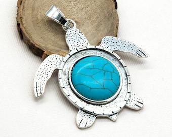 Turtle Pendant, Turquoise Stone, 65x60mm, 1pc, Boho Pendants, Metal Fashion Pendant -C847