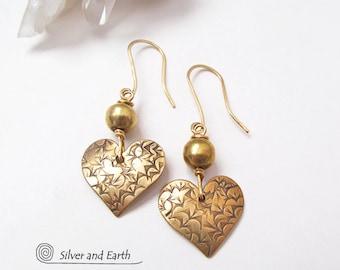 Gold Heart Earrings, Tiny Earrings, Brass Earrings, Small Gold Earrings, Mother's Day Jewelry, Dainty Earrings, Mother's Day Gifts for Her