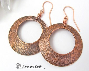 Large Copper Hoop Earrings, Hammered Earrings, Bold Modern Earrings, 7th Copper Anniversary Gift, Handmade Copper Jewelry, Classic Big Hoops