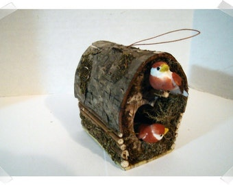 Rustic Small Birdhouse w/Birds Ornament/ Craft Supplies*