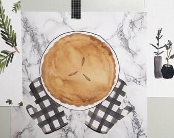 Pie day watercolor print