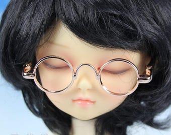 New fashion Dolls Round frame glasses fit 1/4 BJD MSD mini Super Dollfie - Gold