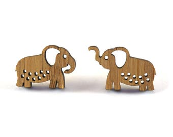 Elephant Earring Studs, Mismatched earrings, Wood elephants, quirky jewellery