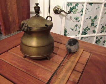 Antique Mid 19th C. Bronze Fire Starter Pot w/ Lid & Stone Wand