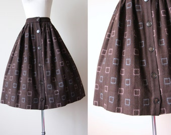 50s Skirt - Vintage 1950s Skirt - Chocolate Brown Wool Pastel Mohair Geometric Full Skirt M - Rosecrest Skirt