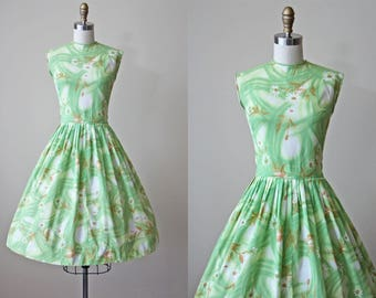 50s Dress - Vintage 1950s Dress - Green Wildflower Print Full Skirt Sundress S M - Spring Bliss Dress