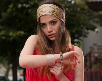 Silk Headband, Silk Head Wrap, Yellow Floral Headband, Summer Headband, Boho Headband, Yellow Head wrap in silk, Headband Floral Pattern