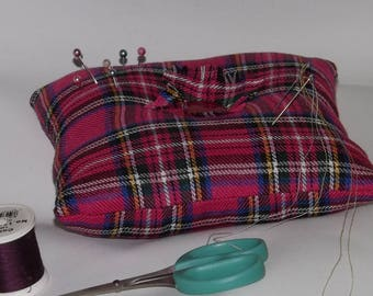 Large Pink Tartan Pincushion, Large Square Pincushion, Sewing Crafts Pincushion