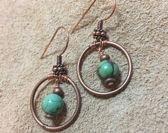 Circular Copper and Turquoise Earrings
