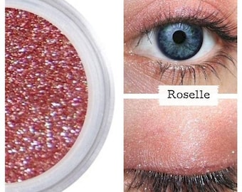 Rose Eyeshadow, Pink Shimmer, Eye Color Colour, Natural Shadow, Mineral Makeup, Vegan Cruelty Free, Long Lasting, ROSELLE Shadow, Eye Shadow