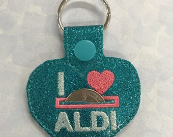 Teal Glitter Quarter Keeper Key Fob