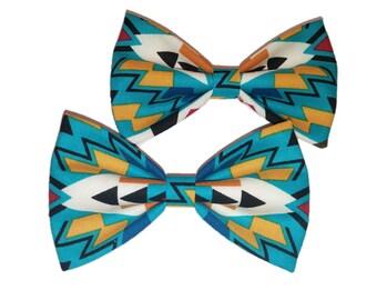 Blue Aztec Bow Tie - Dog Bow Tie - Tribal Self Tie Bowtie - Girls Hair Clip - Cat Accessory