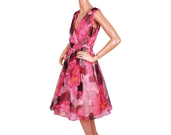 Vintage 1960s Pink and Black Floral Chiffon Dress - Sleeveless - Garden Party Dress - M
