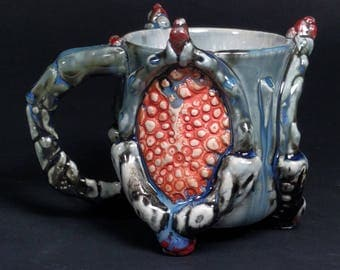 One of a Kind Handmade Crystalline Glazed Extraterrestrial Red Grey Blue Alligator Skin Bone Handle Detail Ceramicgoddess Art Pottery Cup
