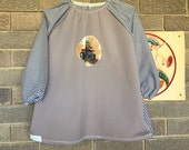 Back to school kids art smock, long sleeve waterproof front craft apron. Fits age 5 to 8. Quad bike