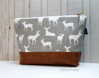 Deer Buck In Grey with Vegan Leather - Large Make Up Bag / Diaper Clutch / Bridesmaid Gift