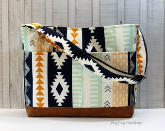 Aztec Horizon with Vegan Leather -  with Outside Pockets - Messenger Tote Bag /  Diaper Bag - Large Bag