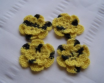 Appliques hand crocheted flowers embellishment set of 4 in shaded bumble bee yellow black cotton 1.5 inch