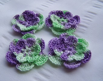 Crochet motif set of 4 flowers 1.5 inch Scottish Thistle mint green purple
