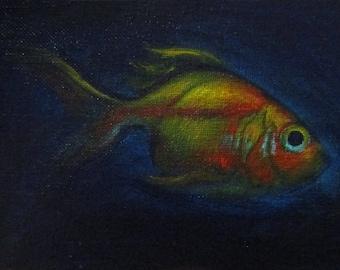 Glowfish I - original daily painting by Kellie Marian Hill