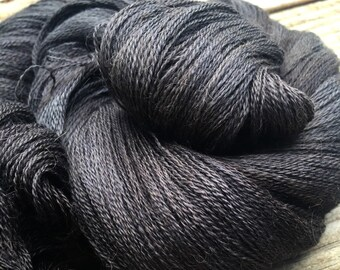 Gunpowder Gray hand dyed lace weight yarn cashmere blend yarn cobweb lace 1312 yards baby alpaca silk cashmere dark grey black lace weight