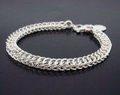 Men's sleek, classic chainmaille chain bracelet in sterling silver